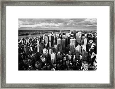 Evening View Of Manhattan North West Towards Hudson River New York City Framed Print by Joe Fox