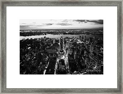 Evening View Of Manhattan West Towards Hudson River And One Penn Plaza Night New York City Framed Print by Joe Fox