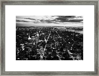 Evening View Of South Manhattan And Sunset  Framed Print by Joe Fox