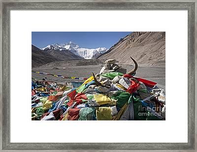 Everest And Prayer Flags Framed Print by Hitendra SINKAR