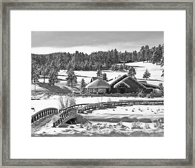 Evergreen Lake House Winter Framed Print by Ron White