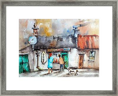 Every Little Helps One Stop Shop Framed Print by Val Byrne