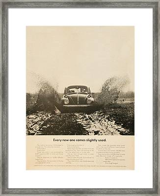 Every New One Comes Slightly Used - Vintage Volkswagen Advert Framed Print by Georgia Fowler