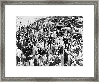 Everybody Is At The Beach Framed Print by Underwood Archives