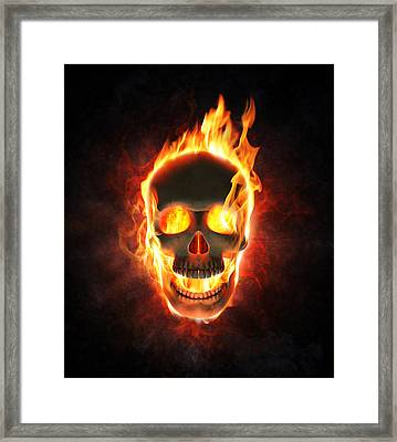 Evil Skull In Flames And Smoke Framed Print by Johan Swanepoel