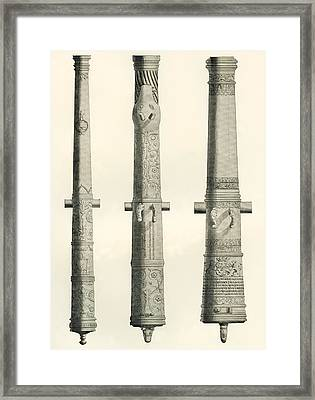 Examples Of Cannons. From Left To Right, A German Nachtigall Cannon Cast In Brunswick, Germany Framed Print by Bridgeman Images