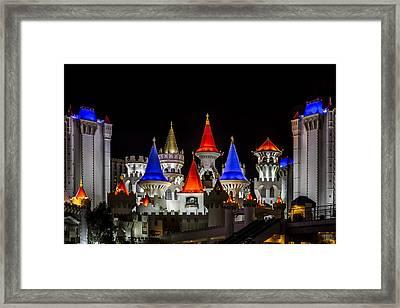 Excalibur At Night - Las Vegas Framed Print by Eduard Moldoveanu
