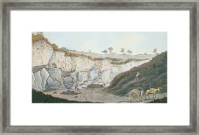 Excavations Of A Thick Stratum Of Lava Framed Print by Pietro Fabris