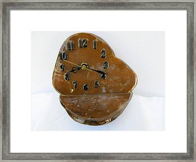 Executive Desk Clock In Gold Moss Agate Stone Tos3406 Framed Print by W Bruce Watts