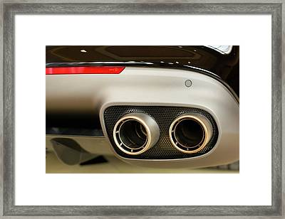 Exhaust Pipes Of A Ferrari California Framed Print by Jim West