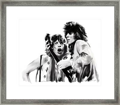 Exile II Mick Jagger And Keith Richards Framed Print by Iconic Images Art Gallery David Pucciarelli