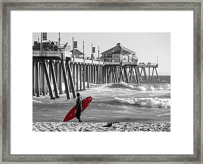 Existential Surfing At Huntington Beach Selective Color Framed Print by Scott Campbell