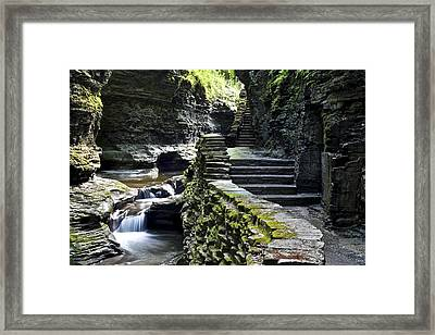 Exiting Watkins Glen Gorge Framed Print by Frozen in Time Fine Art Photography