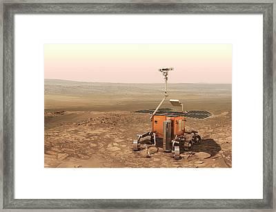 Exomars Rover On Mars Framed Print by European Space Agency/aoes Medialab