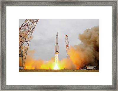Exomars Spacecraft Launch Framed Print by European Space Agency/stephane Corvaja