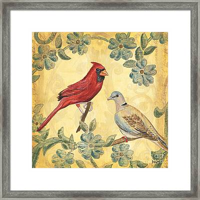 Exotic Bird Floral And Vine 2 Framed Print by Debbie DeWitt