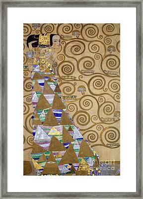 Expectation Preparatory Cartoon For The Stoclet Frieze Framed Print by Gustav Klimt