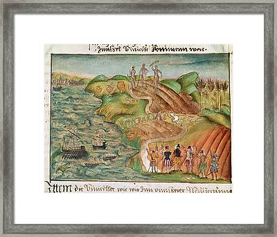 Expedition Lands In Venezuela Framed Print by British Library
