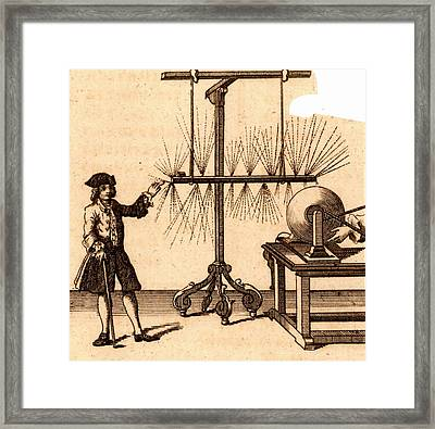 Experiment With Static Electricity Framed Print by Universal History Archive/uig