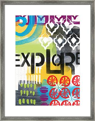Explore- Contemporary Abstract Art Framed Print by Linda Woods