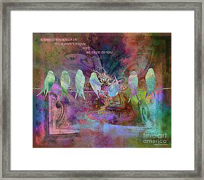 Express Yourself Birds On Wire Framed Print by Annie Zeno