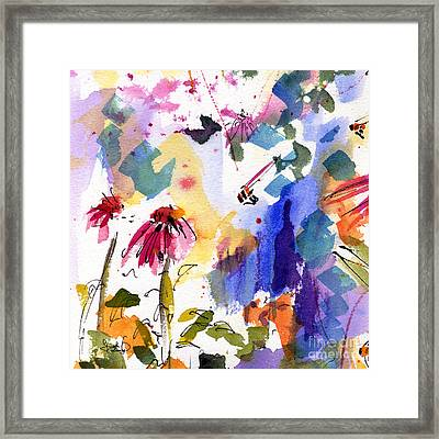 Expressive Watercolor Flowers And Bees Framed Print by Ginette Callaway