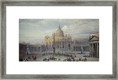 Exterior Of St Peters In Rome From The Piazza Framed Print by Louis Haghe