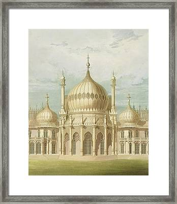 Exterior Of The Saloon From Views Of The Royal Pavilion Framed Print by John Nash
