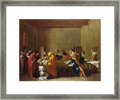 Extreme Unction, C.1637-40 Oil On Canvas Framed Print by Nicolas Poussin