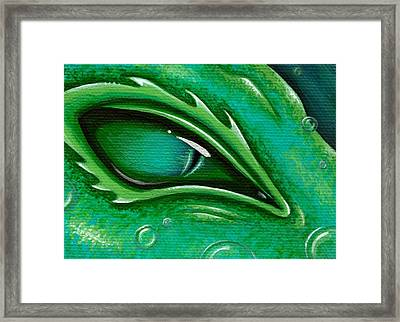 Eye Of The Green Algae Dragon Framed Print by Elaina  Wagner