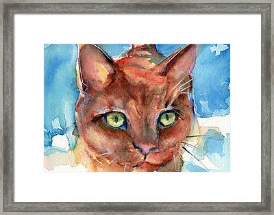 Eye Of The Tiger Framed Print by Maria's Watercolor