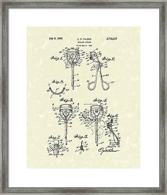 Eyelash Curler 1955 Patent Art Framed Print by Prior Art Design