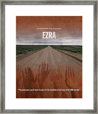Ezra Books Of The Bible Series Old Testament Minimal Poster Art Number 15 Framed Print by Design Turnpike
