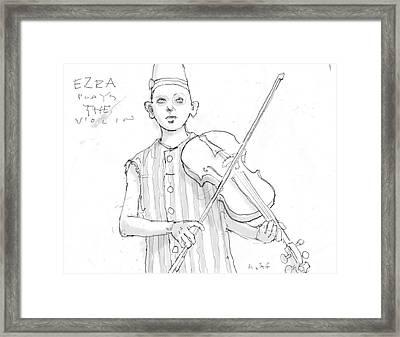 Ezra Plays The Violin Framed Print by H James Hoff