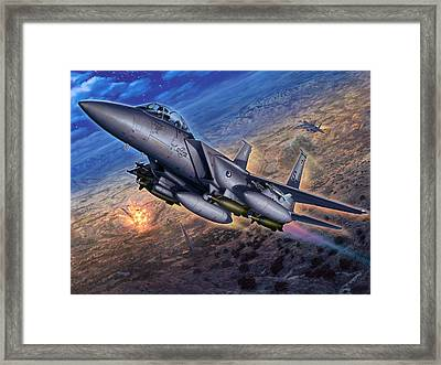 F-15e Strike Eagle Scud Busting Framed Print by Stu Shepherd