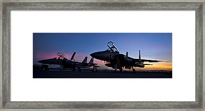 F-15e Strike Eagles At Dusk Framed Print by Adam Romanowicz