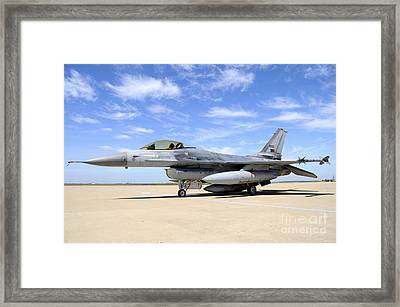 F-16a Falcon From The Portuguese Air Framed Print by Riccardo Niccoli