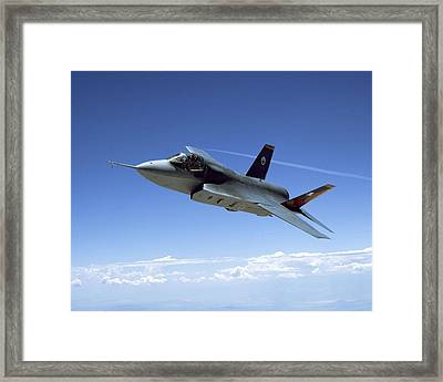 F 35 Joint Strike Fighter Amber Indigo Red Fins Enhanced Framed Print by US Military - L Brown