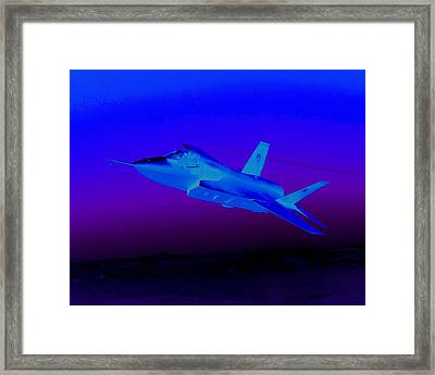 F 35 Joint Strike Fighter At Dusk Night Mission Framed Print by US Military - L Brown