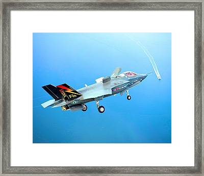 F 35 Joint Strike Fighter Fianl Approach Us Assault Carrier Enhanced IIi Framed Print by US Military - L Brown