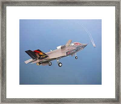 F 35 Joint Strike Fighter Fianl Approach Us Assault Carrier Enhanced Framed Print by US Military - L Brown