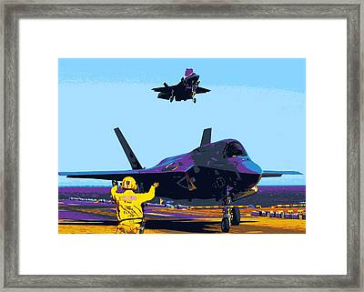 F 35 Joint Strike Fighters Landing Vertically On Us Marine Assault Carrier Enhanced IIi Framed Print by US Military - L Brown