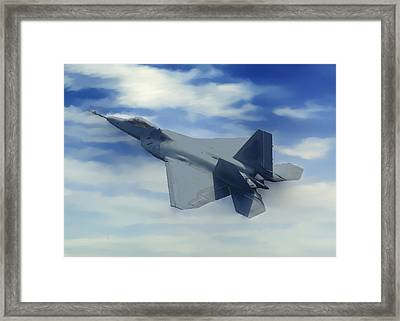 F22  Raptor Climbing In The Clouds Framed Print by Bob and Nadine Johnston