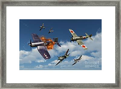 F4u Corsair Aircraft And Japanese Framed Print by Mark Stevenson