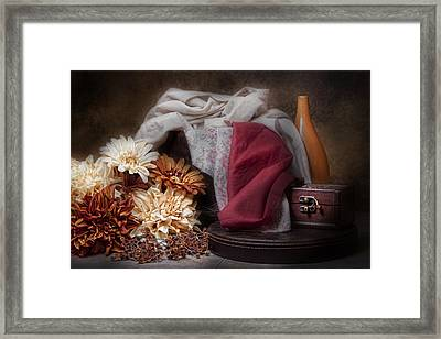 Fabric And Flowers Still Life Framed Print by Tom Mc Nemar