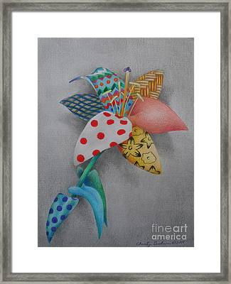 Fabric Lily Framed Print by Charity Goodwin
