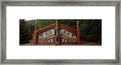 Facade Of A Clan House, Totem Bight Framed Print by Panoramic Images