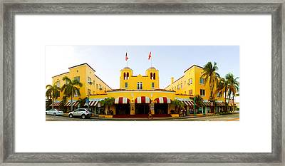 Facade Of A Hotel, Colony Hotel, Delray Framed Print by Panoramic Images