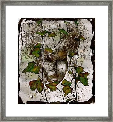 Face In The Garden Framed Print by Carolyn Doe