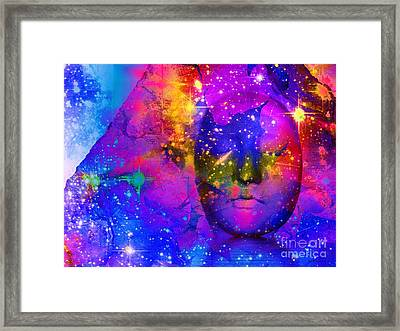 Face In The Rock Spaced Out Framed Print by Elizabeth McTaggart